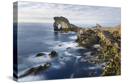 Foula Part of Shetland Islands. Cliffs in North at East Hoevdi with Natural Arch Gaada Stack-Martin Zwick-Stretched Canvas Print