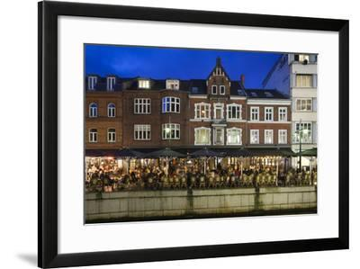 Denmark, Jutland, Aarhus, Canal Side Cafes, Evening-Walter Bibikow-Framed Photographic Print