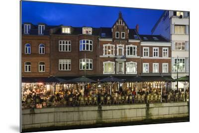 Denmark, Jutland, Aarhus, Canal Side Cafes, Evening-Walter Bibikow-Mounted Photographic Print