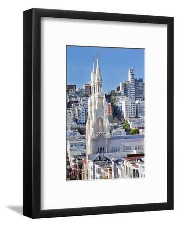 Saint Peter and Paul Catholic Church Steeples Houses San Francisco, California-William Perry-Framed Photographic Print