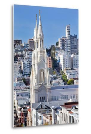 Saint Peter and Paul Catholic Church Steeples Houses San Francisco, California-William Perry-Metal Print