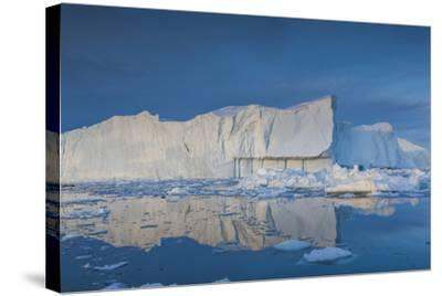 Greenland, Disko Bay, Ilulissat, Floating Ice at Sunset-Walter Bibikow-Stretched Canvas Print