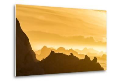 Norway, Svalbard, Nordaustlandet. Silhouette of Icebergs Backlit at Sunset-Jaynes Gallery-Metal Print