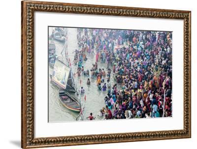 India, Sonepur, Devout Pilgrims Bathing in the Ganges River on Kartik Purnima-Ellen Clark-Framed Photographic Print