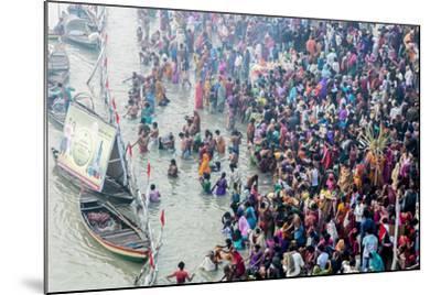 India, Sonepur, Devout Pilgrims Bathing in the Ganges River on Kartik Purnima-Ellen Clark-Mounted Photographic Print