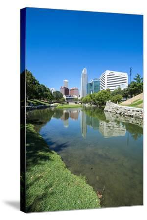City Park Lagoon with Downtown Omaha, Nebraska, Usa-Michael Runkel-Stretched Canvas Print