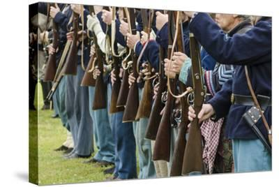 Union Soldiers at the Thunder on the Roanoke Civil War Reenactment in Plymouth, North Carolina-Michael DeFreitas-Stretched Canvas Print