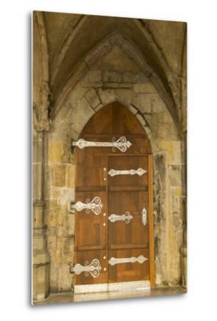 Czech Republic, Prague. Wooden Door in St. Vitus Cathedral-Jaynes Gallery-Metal Print