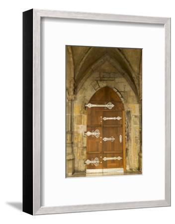 Czech Republic, Prague. Wooden Door in St. Vitus Cathedral-Jaynes Gallery-Framed Photographic Print