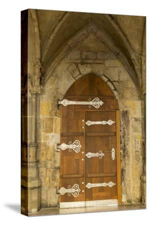 Czech Republic, Prague. Wooden Door in St. Vitus Cathedral-Jaynes Gallery-Stretched Canvas Print