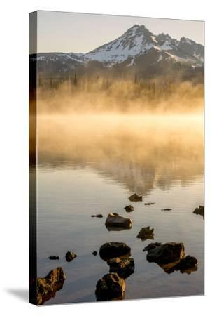 Oregon, Sparks Lake. Misty Lake and Mt. Bachelor-Jaynes Gallery-Stretched Canvas Print