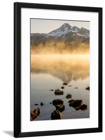 Oregon, Sparks Lake. Misty Lake and Mt. Bachelor-Jaynes Gallery-Framed Photographic Print