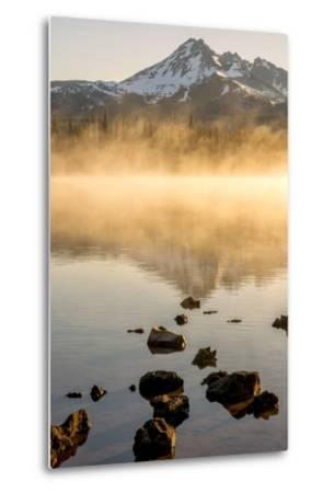Oregon, Sparks Lake. Misty Lake and Mt. Bachelor-Jaynes Gallery-Metal Print