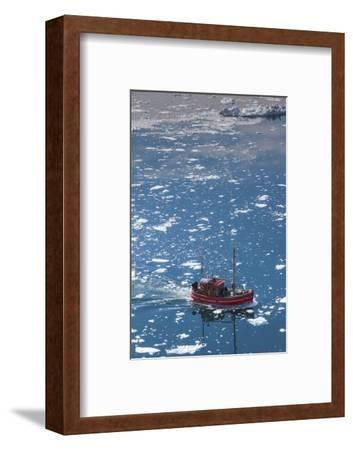 Greenland, Disko Bay, Ilulissat, Elevated View of Floating Ice and Fishing Boat-Walter Bibikow-Framed Photographic Print