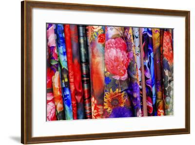 Chinese Colorful Flower Silk Scarves Decoration Yuyuan Garden Shanghai, China-William Perry-Framed Photographic Print