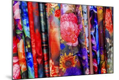 Chinese Colorful Flower Silk Scarves Decoration Yuyuan Garden Shanghai, China-William Perry-Mounted Photographic Print