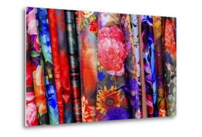 Chinese Colorful Flower Silk Scarves Decoration Yuyuan Garden Shanghai, China-William Perry-Metal Print