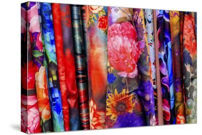 Chinese Colorful Flower Silk Scarves Decoration Yuyuan Garden Shanghai, China-William Perry-Stretched Canvas Print