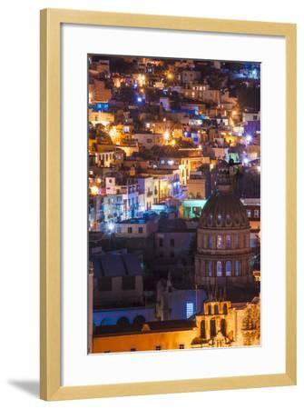 Mexico, the Colorful Homes and Buildings of Guanajuato at Night-Judith Zimmerman-Framed Photographic Print