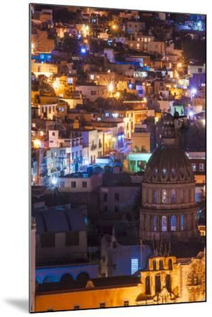 Mexico, the Colorful Homes and Buildings of Guanajuato at Night-Judith Zimmerman-Mounted Photographic Print