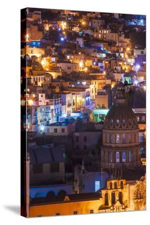Mexico, the Colorful Homes and Buildings of Guanajuato at Night-Judith Zimmerman-Stretched Canvas Print
