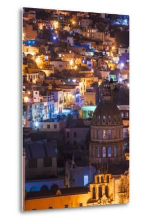 Mexico, the Colorful Homes and Buildings of Guanajuato at Night-Judith Zimmerman-Metal Print