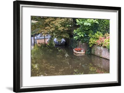 Netherlands, Holland, Medieval Old Town, Inner City Canals, Wooden Boat-Emily Wilson-Framed Photographic Print
