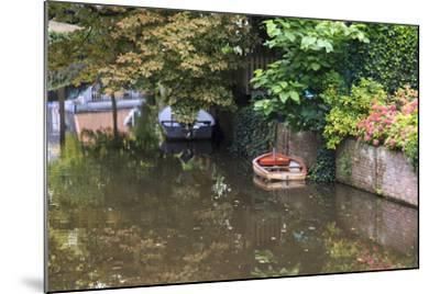 Netherlands, Holland, Medieval Old Town, Inner City Canals, Wooden Boat-Emily Wilson-Mounted Photographic Print
