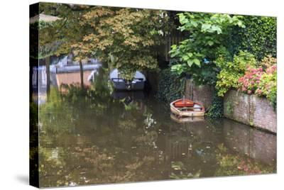 Netherlands, Holland, Medieval Old Town, Inner City Canals, Wooden Boat-Emily Wilson-Stretched Canvas Print