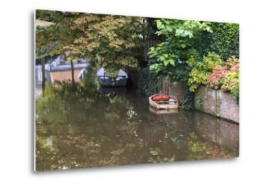 Netherlands, Holland, Medieval Old Town, Inner City Canals, Wooden Boat-Emily Wilson-Metal Print