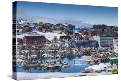 Greenland, Disko Bay, Ilulissat, Town Harbor, Elevated View-Walter Bibikow-Stretched Canvas Print