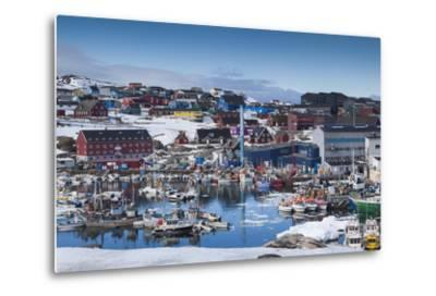 Greenland, Disko Bay, Ilulissat, Town Harbor, Elevated View-Walter Bibikow-Metal Print