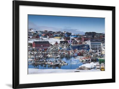 Greenland, Disko Bay, Ilulissat, Town Harbor, Elevated View-Walter Bibikow-Framed Photographic Print