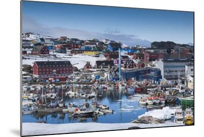 Greenland, Disko Bay, Ilulissat, Town Harbor, Elevated View-Walter Bibikow-Mounted Photographic Print