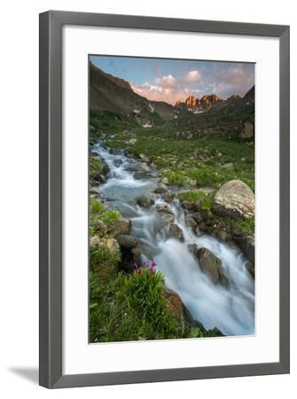Colorado, Rocky Mountain Sunset in American Basin with Stream and Alpine Wildflowers-Judith Zimmerman-Framed Photographic Print
