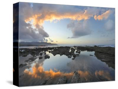 Calm Water Reflects the Sunset Clouds, Playa Santa Teresa, Costa Rica-Tim Fitzharris-Stretched Canvas Print