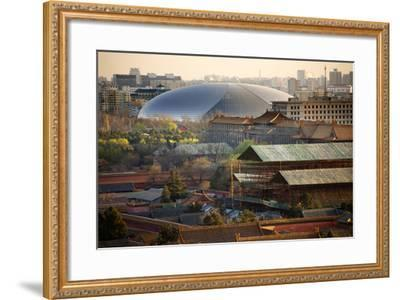 Big Silver Egg Concert Hall Close-Up, Beijing, China. Forbidden City in Foreground-William Perry-Framed Photographic Print