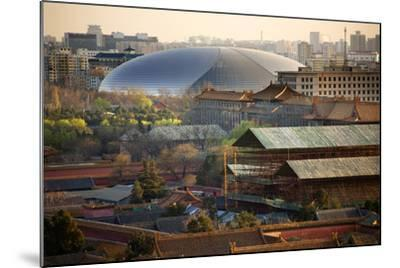 Big Silver Egg Concert Hall Close-Up, Beijing, China. Forbidden City in Foreground-William Perry-Mounted Photographic Print
