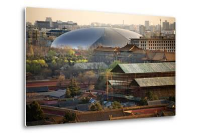 Big Silver Egg Concert Hall Close-Up, Beijing, China. Forbidden City in Foreground-William Perry-Metal Print