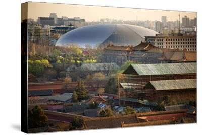 Big Silver Egg Concert Hall Close-Up, Beijing, China. Forbidden City in Foreground-William Perry-Stretched Canvas Print