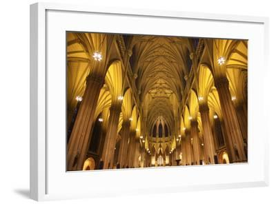 Saint Patrick's Cathedral, Inside, Arches, Stained Glass, New York City-William Perry-Framed Photographic Print