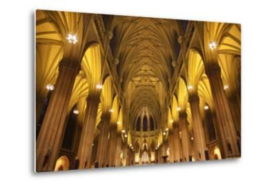 Saint Patrick's Cathedral, Inside, Arches, Stained Glass, New York City-William Perry-Metal Print