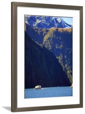 A Cruise Ship on the Waters of Milford Sound in the South Island of New Zealand-Paul Dymond-Framed Photographic Print