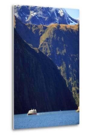 A Cruise Ship on the Waters of Milford Sound in the South Island of New Zealand-Paul Dymond-Metal Print