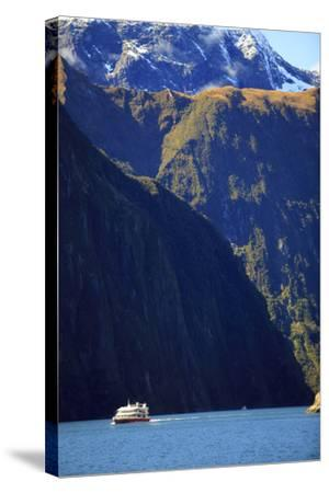 A Cruise Ship on the Waters of Milford Sound in the South Island of New Zealand-Paul Dymond-Stretched Canvas Print