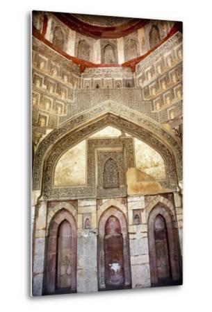 Decorations Inside Ancient Sheesh Shish Gumbad Tomb Lodi Gardens, New Delhi, India-William Perry-Metal Print