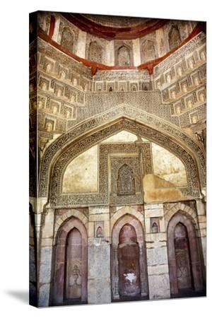 Decorations Inside Ancient Sheesh Shish Gumbad Tomb Lodi Gardens, New Delhi, India-William Perry-Stretched Canvas Print