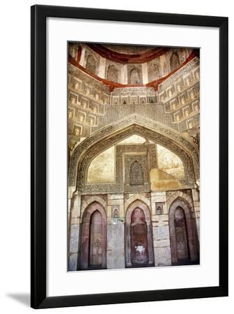 Decorations Inside Ancient Sheesh Shish Gumbad Tomb Lodi Gardens, New Delhi, India-William Perry-Framed Photographic Print