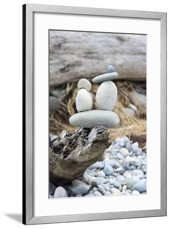 Us, Wa, Dungeness Spit. Rock Cairns on Driftwood-Trish Drury-Framed Photographic Print