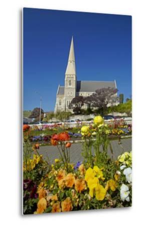 Flowers and St. Luke's Anglican Church, Oamaru, North Otago, South Island, New Zealand-David Wall-Metal Print